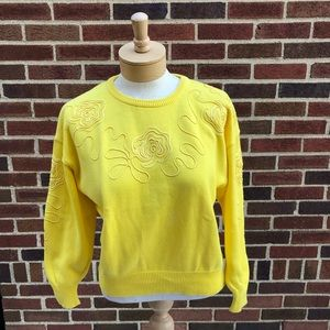 Escada Yellow Embroidered Flower Sweater Size 38